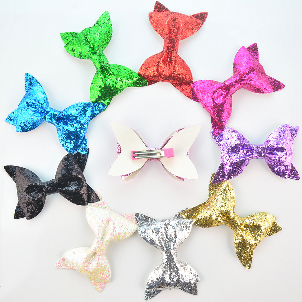 Wholesale 60pcs lot Glitter Synthetic Leather Bow with Clip Kids Barrette Bowknot Hairpin School Girl Lovely