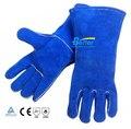 14 дюймов сварочные защитные перчатки высокотемпературные инструменты пот поглощающих натуральная кожа сварщика перчатка работы