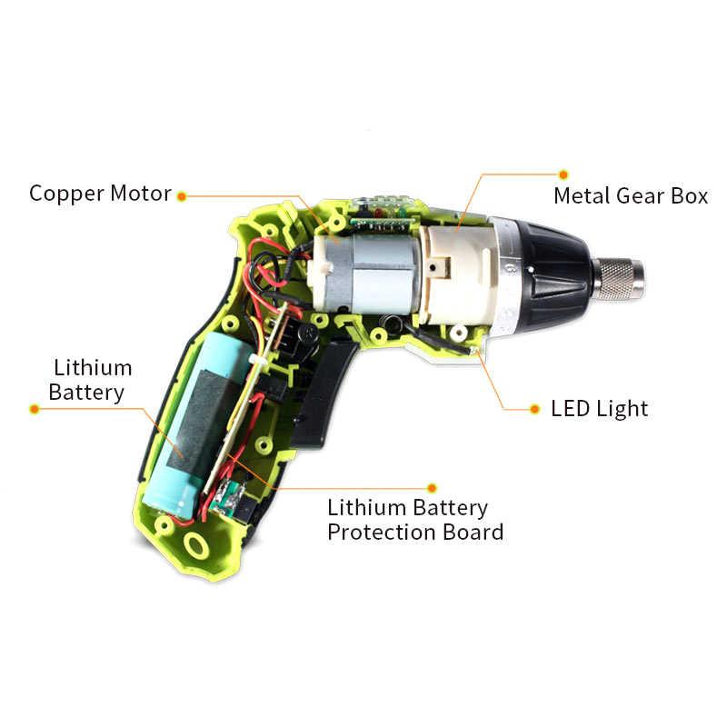 Prostormer 3.6V Listrik Daya Baterai Obeng Set Lipat Adjustable Cordless Obeng Bor dengan LED USB Pengisian