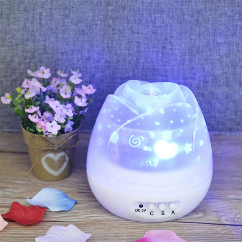 LED Night Light Sky Moon & Star Projector Light Lamp Romantic Rotating Projector Lamp for Baby Kids Bedroom Decoration (White)
