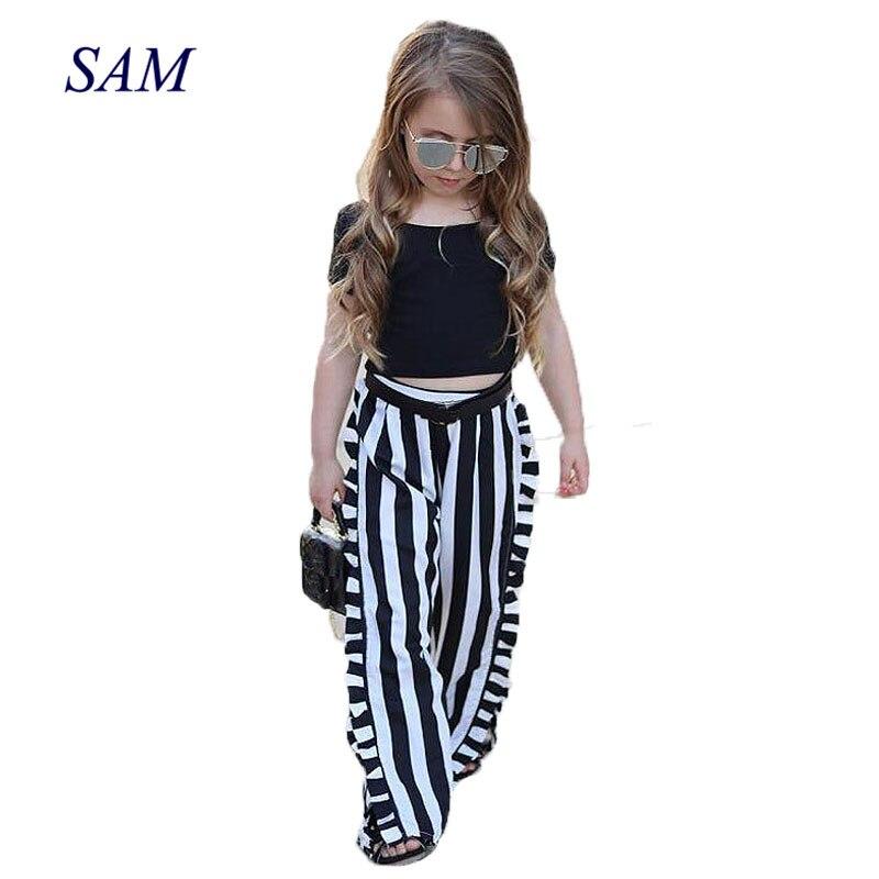 2018 New Fashion INS Girls Clothing Sets Children's Black Short Sleeve Top + Stripe Wide Leg Pants 2 pcs Suit Kids Clothes embroidered lantern sleeve wide hem top