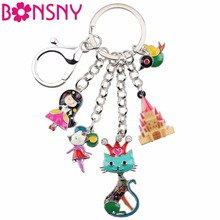 Купить с кэшбэком Bonsny Enamel Alloy Child's Fairy Tale Princess Queen Cat Bird mouse Castle Car Key Chains For Women Handbag Charms Keyrings