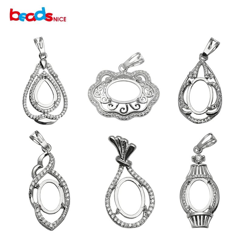 Beadsnice Oval Pendant Tray 925 Sterling Silver Blank Pendant Cabochon Setting Handmade Necklace Pendants For Women ID 34064