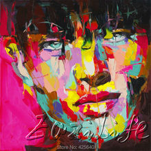 Palette knife portrait Face Oil painting christmas figure canva Hand painted Francoise Nielly wall Art picture for living room58