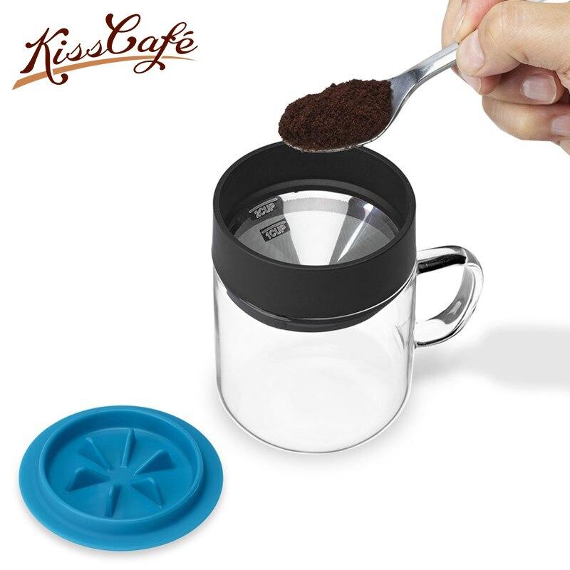 270 ml Mini tasse à café lavée à la main goutte à goutte en acier inoxydable verre tasse à café domestique pour cuisine bureau en plein air