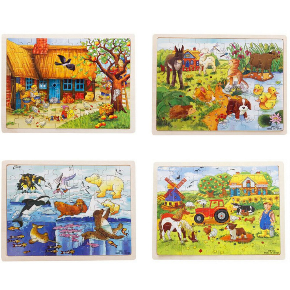New 60pcsset Wooden Puzzle Cartoon Toy 3D Wood Puzzle Jigsaw Puzzle for Child Educational Montessori Wooden Toys