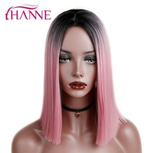 цена на HANNE Ombre Pink/Blonde/Grey Short Straight Heat Resistant Synthetic Hair Wig For Black/White Women Cosplay Or Party Bob Wigs