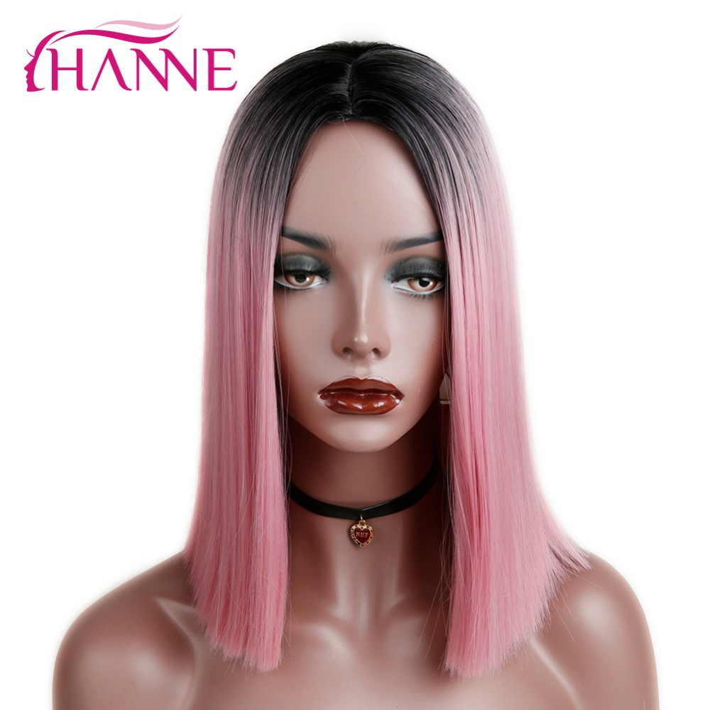 HANNE Ombre <font><b>Pink</b></font>/Blonde/Grey <font><b>Short</b></font> Straight Heat Resistant Synthetic Hair <font><b>Wig</b></font> For Black/White Women Cosplay Or Party Bob <font><b>Wigs</b></font> image
