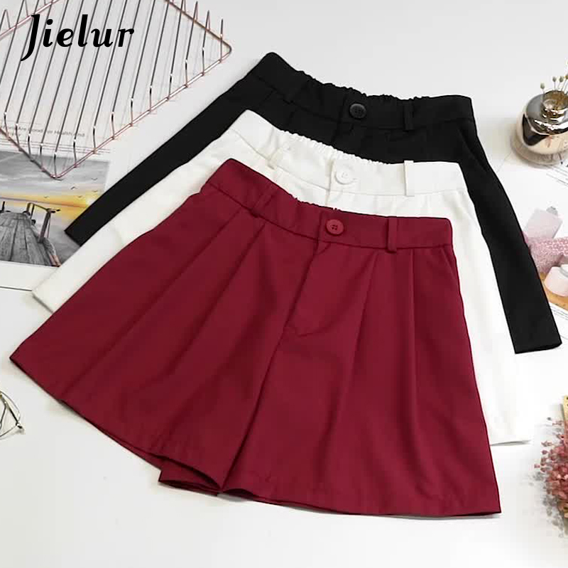 Jielur Female Shorts Elegant Pantaloncini Women Summer Wide Hipster S-L Loose Solid 3-Colors