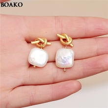 Silver Knotted Style Pearl Earrings Women Ear rings Simple Geometric Square Korean Jewelry Party Girl Gift Hot A4000