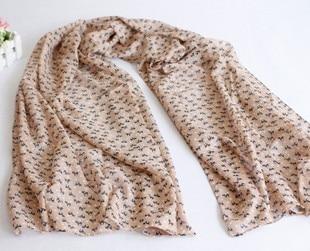 Free Shipping 2012 autumn and winter cartoon cat scarf silk scarf long silk scarf muffler scarf female