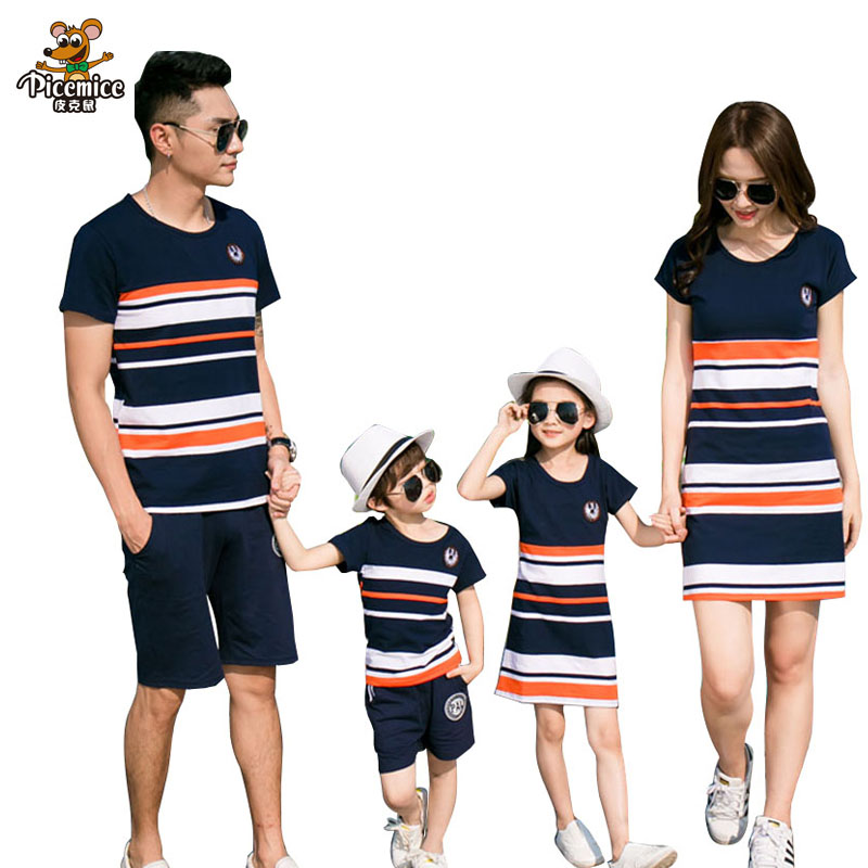 Family Matching Outfits 2017 summer Fashion Striped T-shirt Outfits Mother And Daughter Dresses And Father Son Baby Boy Girl girl