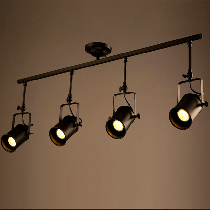 Retro Loft Vintage LED Track Light Industrial <font><b>Ceiling</b></font> Lamp Bar Clothing Personality spotlight Light Four Heads