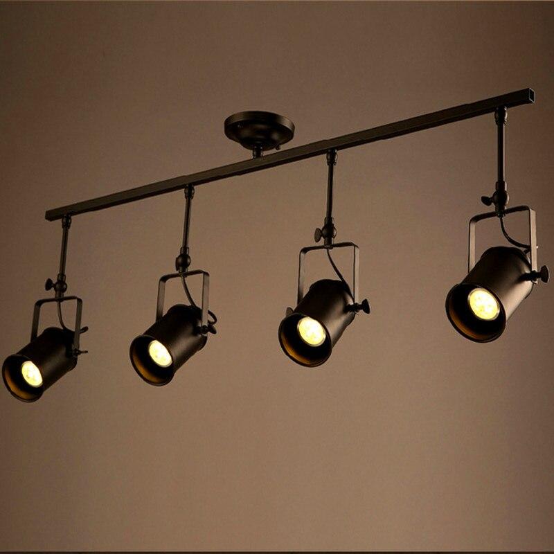 Retro Loft Vintage Luce Della Pista del LED Lampada Da Soffitto Industriale Bar Personalità Abbigliamento spotlight Luce Quattro Teste
