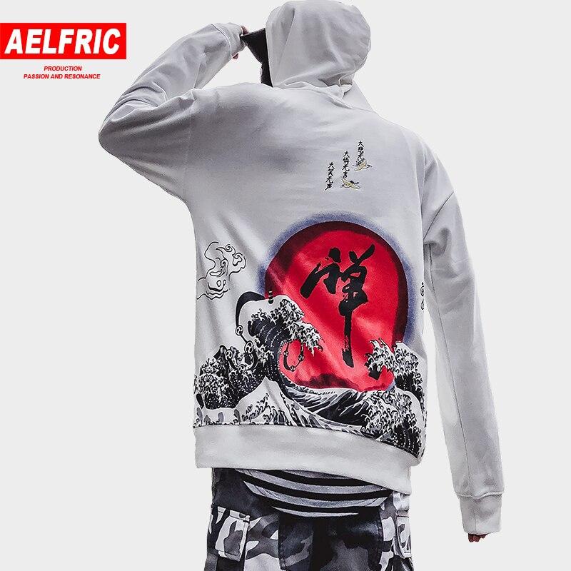 AELFRIC Chinese Letter Wave Printed Hoodies Sweatshirts Men Women 2018 Harajuku Streetwear Pullover Hoodie Kanji Clothing QA08 hoodie