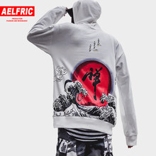 0e88ddd92 AELFRIC Chinese Letter Wave Printed Hoodies Sweatshirts Men Women 2018  Harajuku Streetwear Pullover Hoodie Kanji Clothing