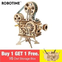 Robotime 2019 Nuovo Arrivo A Mano Manovella Fai Da Te 3D Flim Proiettore di Legno Gioco Di Puzzle di Montaggio Del Giocattolo Regalo per I Bambini di Età LK601