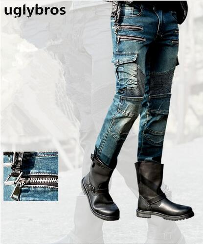 Newest Fashion straight uglybros MOTORPOOL UBS11 jeans blue men's motorcycle trousers protection motorcycle jeans trousers цена