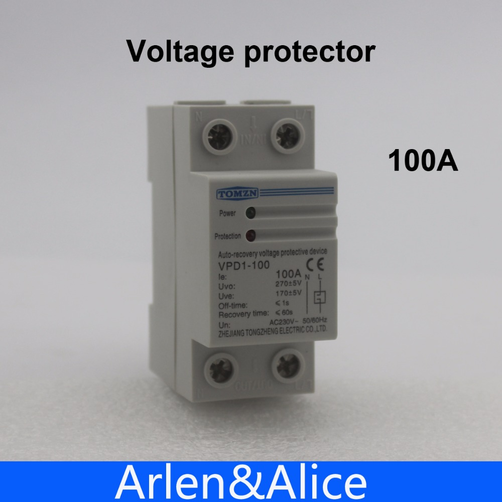 цена на 100A 230V Din rail automatic recovery reconnect over voltage and under voltage protective device protector protection relay