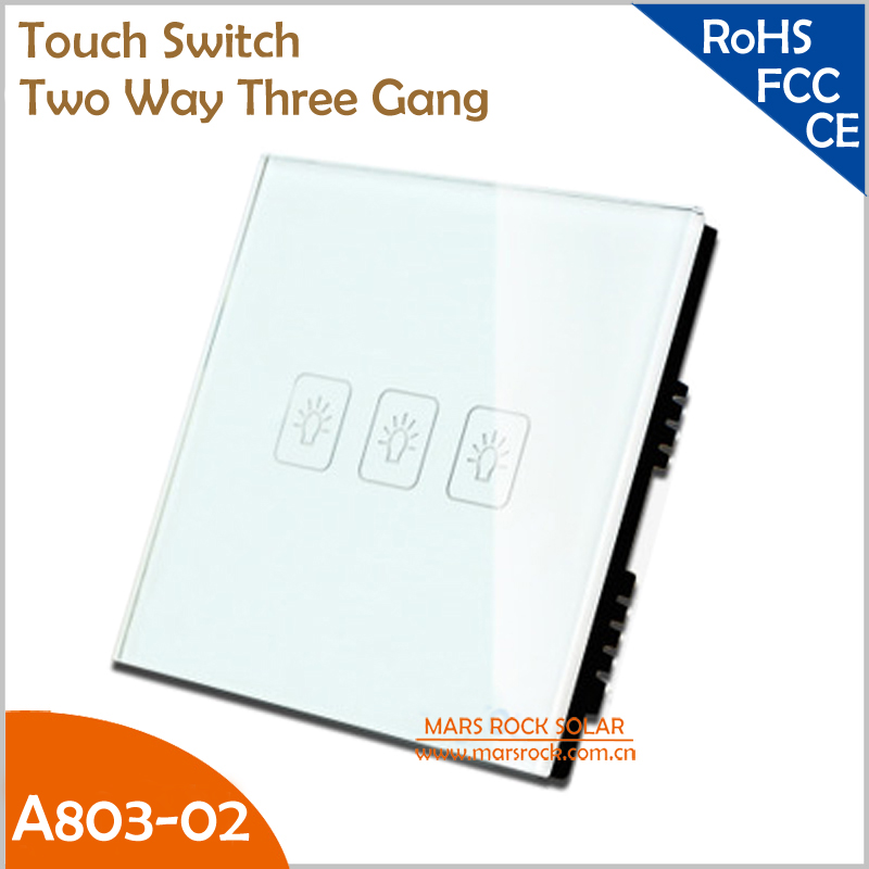 UK Touch Switch Tempered Crystal Glass Panel Smart Two Way Three Gang Wall Switch with White, Black and Gold Color for Choice 1 way 1 gang crystal glass panel smart touch light wall switch remote controller white black gold ac110v 240v