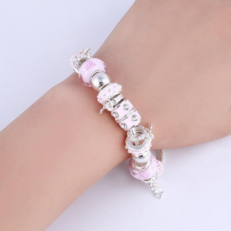 ZOSHI Pink Crystal Charm Silver Bracelets & Bangles for Women With Aliexpress Murano Beads Silver Bracelet Femme Jewelry 8