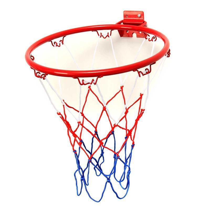 Blue + Red Basketball Hoop Net Ring Wall Mounted Outdoor&Indoor Hanging Basket 32 Cm /12.6 Inch Basketball Rim+Screws