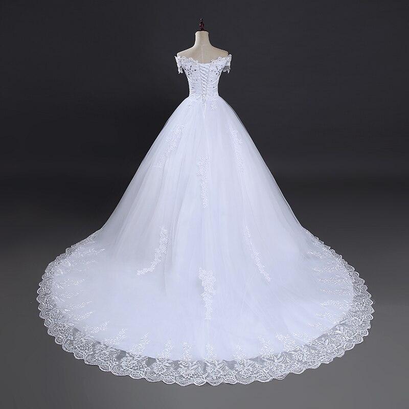Image 2 - Fansmile High Quality Vintage Lace Long Train Wedding Dresses 2019 Vestido De Noiv Plus Size Bridal Dress Wedding Gowns FSM 151T-in Wedding Dresses from Weddings & Events