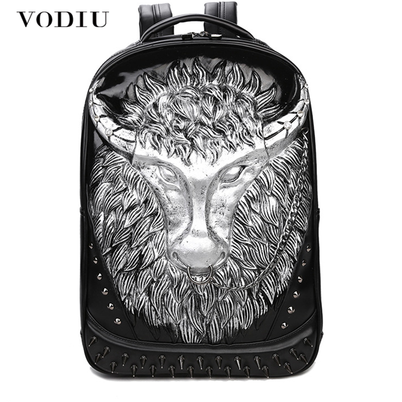 Big Laptop Backpack Men Leather Schoolbag Backpack Fashion 3D Bagpack For Teenagers Waterproof Mochila Sac A Dos Male Rucksack new 3d printing backpack men leather school backpack big rivet wolf bagpack for teens mochila laptop backpacks male sac a dos