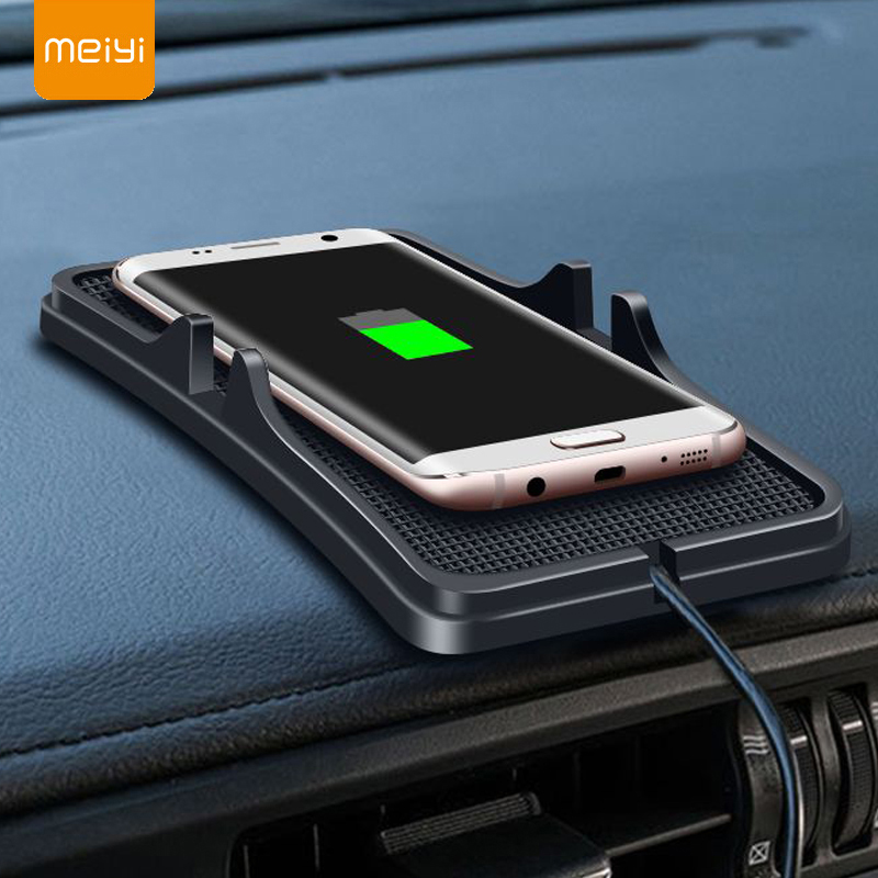 MEIYI צ 'י אלחוטי מטען לרכב עבור iphone X 8 7 בתוספת טעינת Dock Pad סמסונג S9 S8 בתוספת מהיר מטען לוח מחוונים מחזיק מעמד