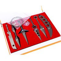 7 sztuk/zestaw Naruto Kunai Broń Cosplay Rekwizyty Miecze Nóż Naszyjnik Wisiorek Brelok Z Pudełkiem Kolekcja Zabawki Prezent Dla Dzieci # E