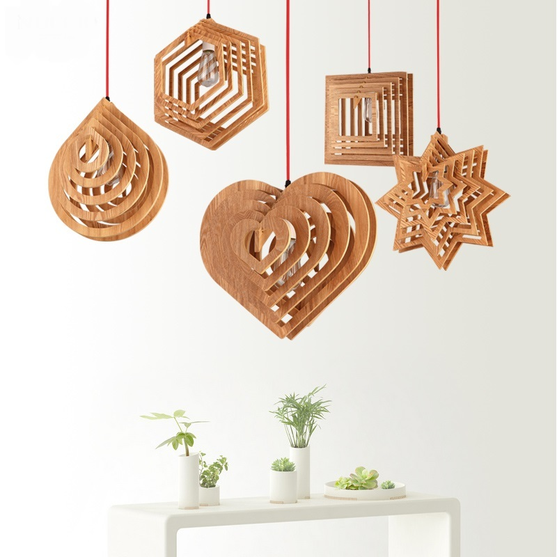 Heart bamboo pendant lights modern star pendant lamps living room solid wood restaurant Bamboo rustic wooden lamps zb52 new arrival modern chinese style bamboo wool lamps rustic bamboo pendant light 3015 free shipping