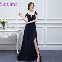 Free Shipping Dark Navy Blue Long Prom Dresses 2016 Spaghetti Straps Front High Split Prom Dress