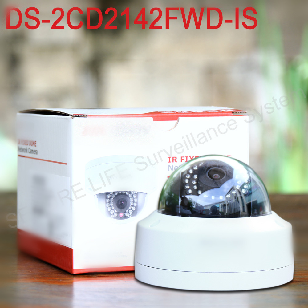 In stock Free shipping English version DS-2CD2142FWD-IS  4MP mini dome network cctv camera, P2P 1080p IP camera POE 120dB WDR free shipping in stock new arrival english version ds 2cd2142fwd iws 4mp wdr fixed dome with wifi network camera