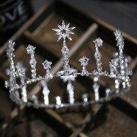 Fashion Luxury Crystal Bridal Crown Tiaras Light Gold Diadem Tiaras For Women Bride Wedding Ladies Hair Accessories