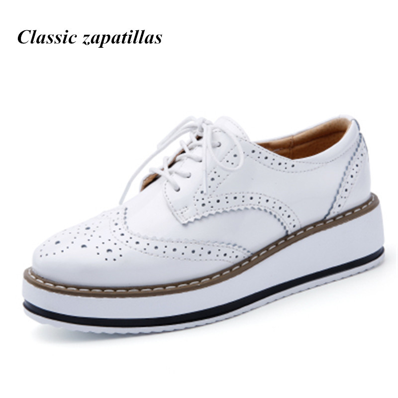 Classic Zapatillas 2018 Women Shoes Platform Oxford Bullock Flat Shoes Women Patent Leather Lace Up Casual Shoes Woman Creeper 2018the new women s patent leather and shoes classic korean version of the classic korean shoes red wedding shoes