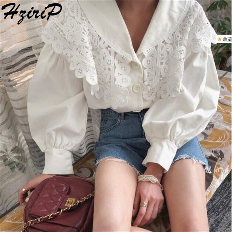Hzirip  Stylish Loose Elegant Hollow Out Long Sleeve Women Summer Sweet Casual Simple Solid Free Shirts