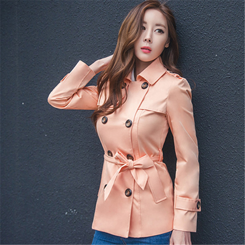 Fashion Elegant Double Breasted Short Slim Waistband Casual Trench Coat Solid Color Women Trench Pockets Overcoat TT2760