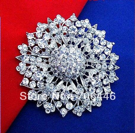2,4 дюйма серебряное покрытие цинковый сплав прозрачный горный хрусталь кристалл большой цветок Винтажный стиль брошь