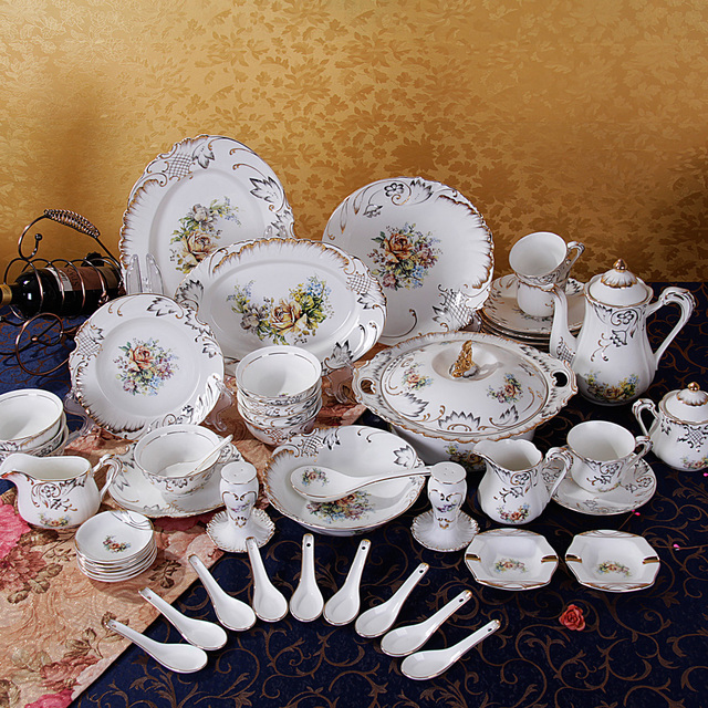 76-pieces Luxury Handmade Relief Dinnerware Suit Gift Embossed Porcelain Dinnerware Sets : 76 piece dinnerware set - pezcame.com