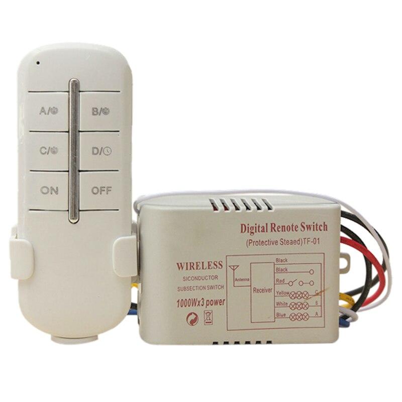 TUOXIN Sans Fil 3 Canal ON/OFF 220 V Lampe Interrupteur Télécommande Sans Fil Émetteur-Récepteur Blanc