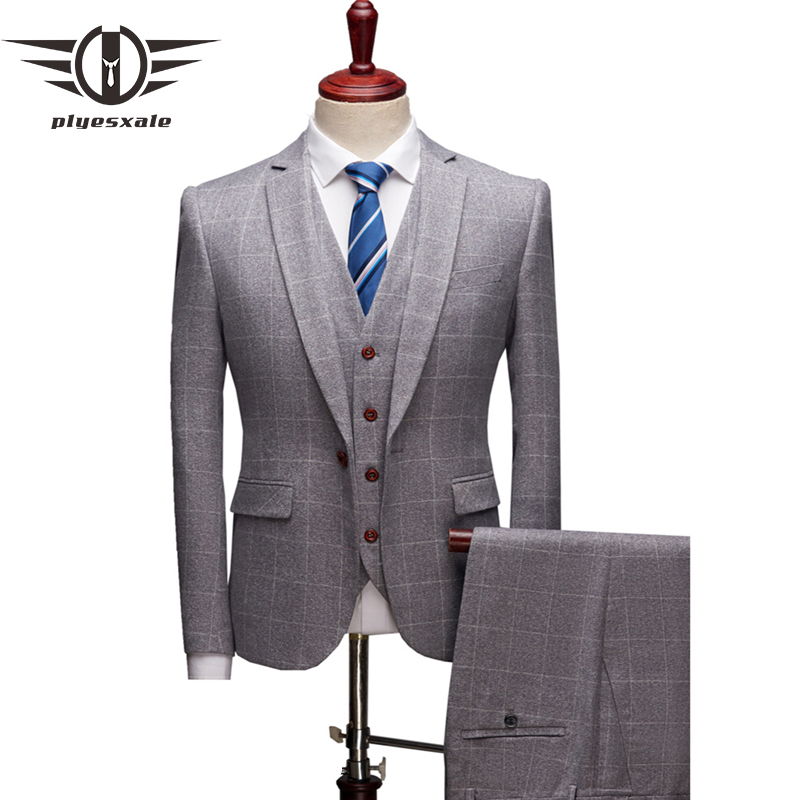 Plyesxale 3 Pieces Plaid Suits Men Slim Fit Mens Suits Designers 2018 Navy Grey Burgundy Groom Wedding Suit Formal Wear Q144