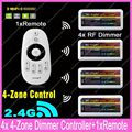 1x 2.4G RF Wireless 4-Zone Touch Remote +4x DC12-24V 12A Mi.light RF Brightness Adjustable Dimmer Controller Set WiFi Compatible