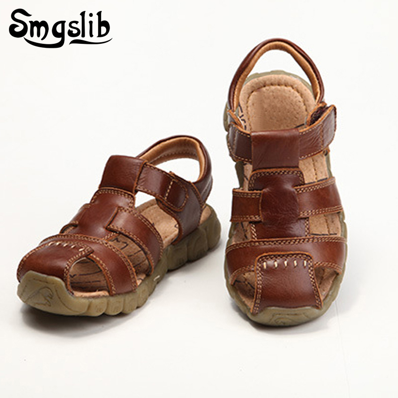 Smgslib Boys Girls Sandals Children Shoes Genuine Leather Kids Gladiator Flat