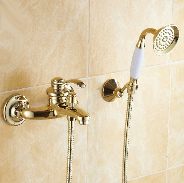 Classical Gold Plate Soild Brass Bathroom Tub Faucet Wall Mount Euro