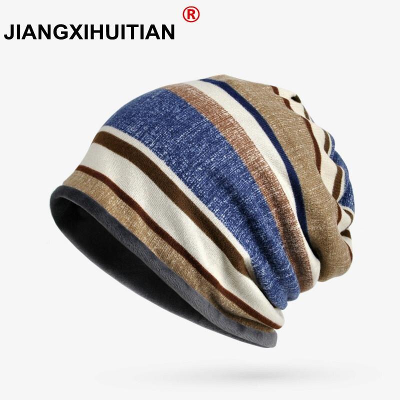 Women's Hats Winter Cap Turban Hat Female Male Stripe Pattern Hats For Men   Skullies     Beanies   Bonnet Femme Thick Warm Velvet