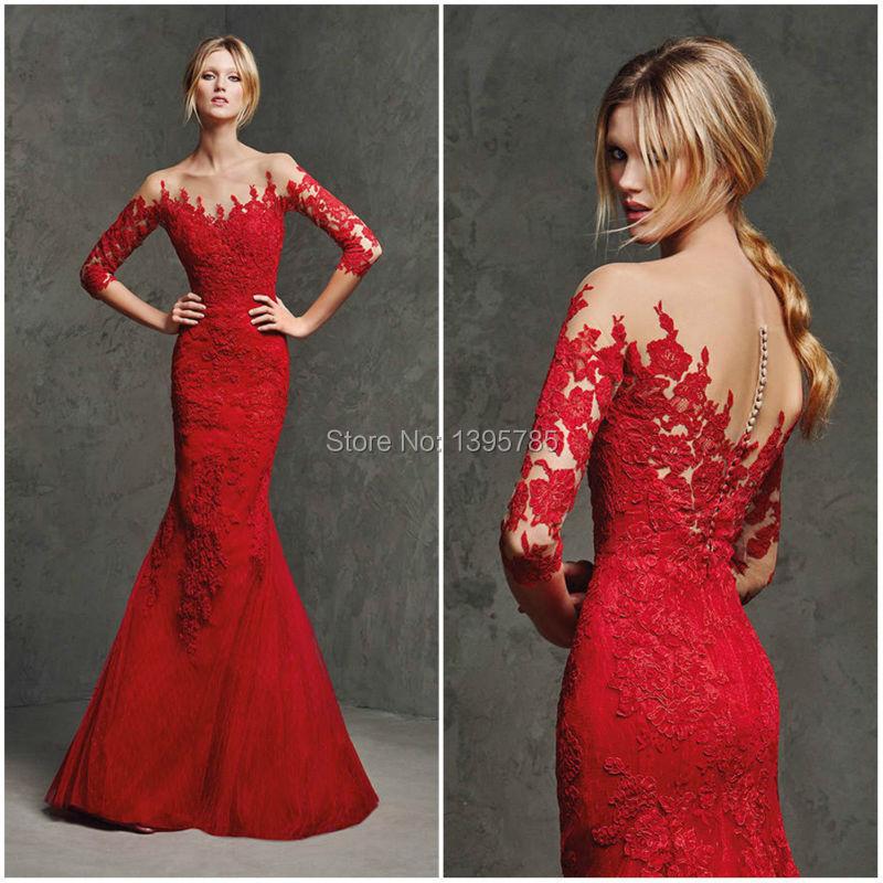 64926eef7 Vestido rojo encaje largo – Vestidos de noche