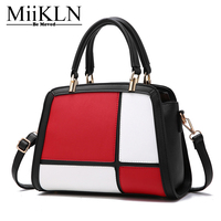 MiiKLN Panelled Bags For Women Pu Leather Black Red Grey Casual Tote Bao Bao Bag Ladies Handbags Panelled Fashion Design