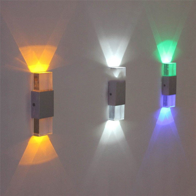 Buy modern 2 6w colorfull light led wall for Applique exterieur up down