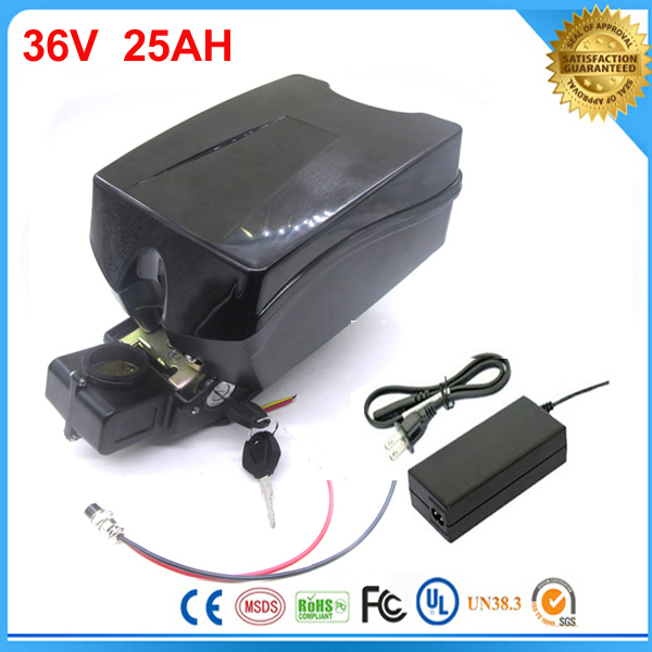 Samsung cell lithium battery 36v 25ah electric bike battery 36v 25ah li-ion battery with 2a charger+F-rog case and bms