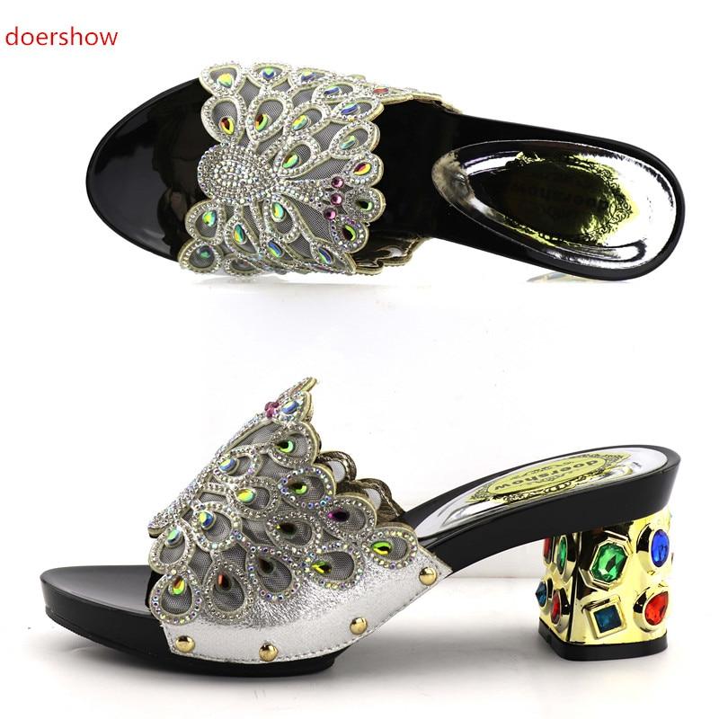 купить doershow Latest Design African Women Slippers Summer High Heels High Quality African Sandals Heels Pumps GREEN Color  KGB1-22 дешево